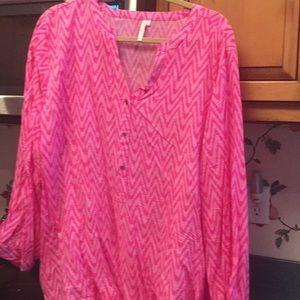 Pink chevron 3/4 sleeve tunic
